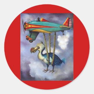 Pájaro perezoso pegatina redonda