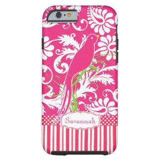 Pájaro personalizado del amor del damasco del rosa funda para iPhone 6 tough