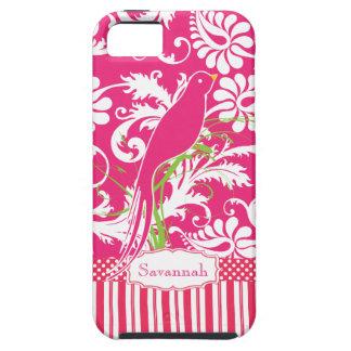 Pájaro personalizado del amor del damasco del rosa iPhone 5 carcasas