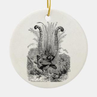 Pájaro personalizado vintage - pájaros retros del adorno navideño redondo de cerámica