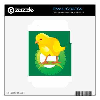 Pájaro/pollo amarillos lindos calcomanías para iPhone 2G