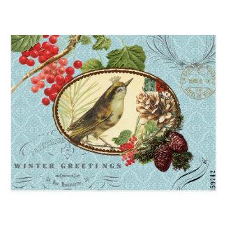 Pájaro-Postal del Día de fiesta-Invierno del vinta