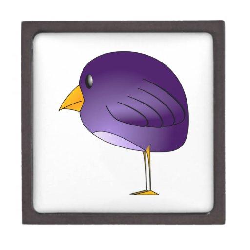 Pájaro púrpura del dibujo animado cajas de regalo de calidad