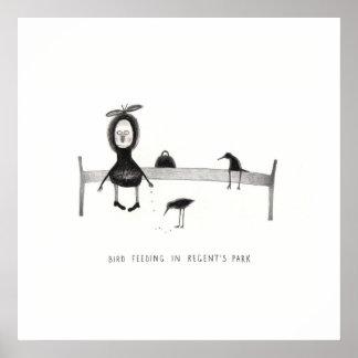 Pájaro que alimenta en el parque del regente póster