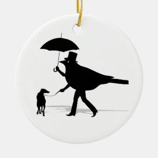 Pájaro que camina un perro adorno redondo de cerámica