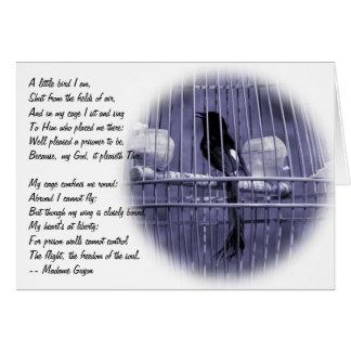 Pájaro que canta en la jaula - concepto de la libe tarjeta