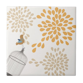 Pájaro que canta fuera de la jaula azulejo cuadrado pequeño