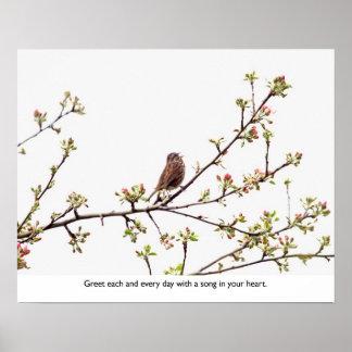 Pájaro que canta una canción feliz posters