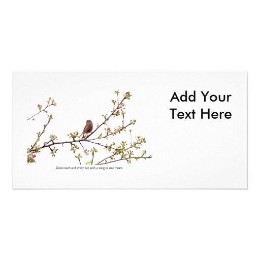 Pájaro que canta una canción feliz plantilla para tarjeta de foto