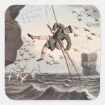 Pájaro que coge desde arriba, grabado por Matthew Calcomanía Cuadradas Personalizadas