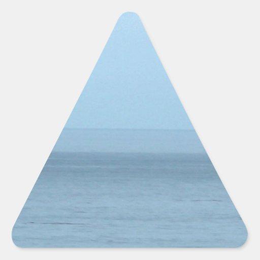 Pájaro que vuela sobre el océano pegatina triangular