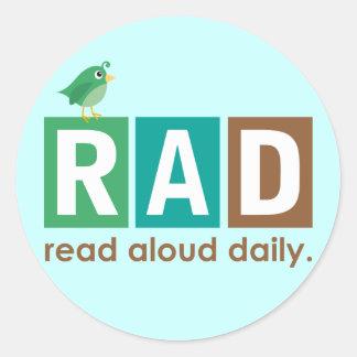Pájaro RAD - En voz alta leído regalo diario de la Pegatina Redonda