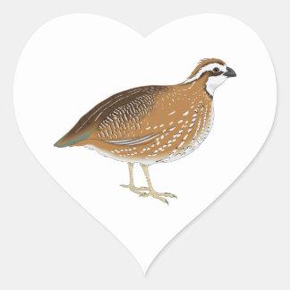 Pájaro realista de las codornices pegatina corazon personalizadas