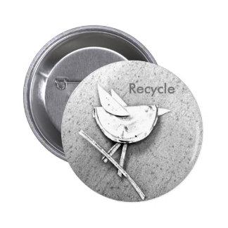 Pájaro reciclado pin