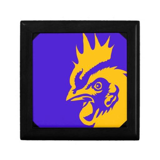 pájaro redondo del gallina del dibujo animado azul caja de recuerdo