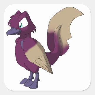 Pájaro reptil de Koi - mantequilla de cacahuete y Calcomania Cuadradas Personalizada
