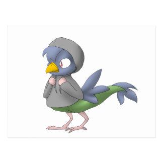 Pájaro reptil encapuchado postal