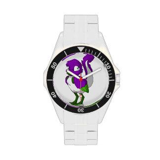 Pájaro reptil púrpura/del verde/blanco relojes