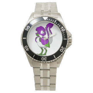 Pájaro reptil púrpura/del verde/blanco relojes de mano