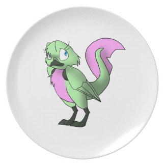 Pájaro reptil verde/rosado en colores pastel platos
