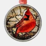 Pájaro rojo adorno redondo plateado