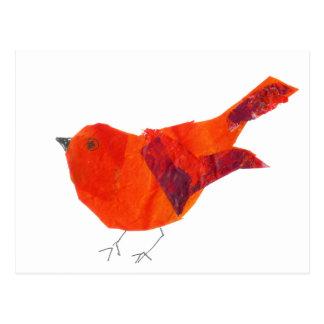 Pájaro rojo artístico único animal de la fauna lin postales