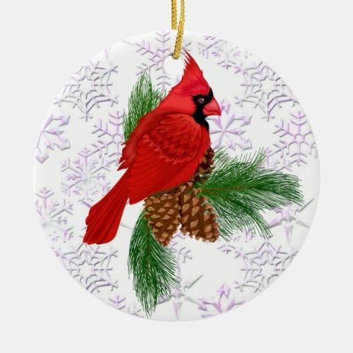 Pájaro rojo bonito adorno redondo de cerámica