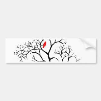 Pájaro rojo cardinal en árbol del invierno Nevado Pegatina Para Auto