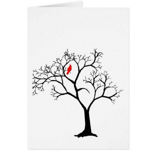 Pájaro rojo cardinal en tarjeta del árbol del invi