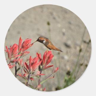 Pájaro rojo de la flor pegatina redonda