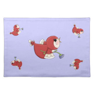 Pájaro rojo del cardenal del dibujo animado del di manteles individuales