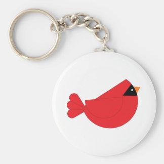Pájaro rojo del cardenal del navidad llavero redondo tipo pin