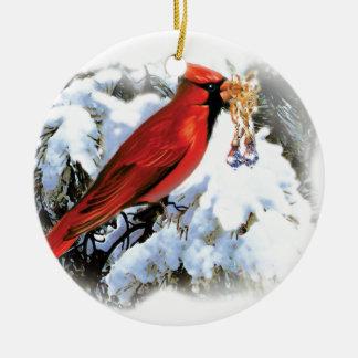 pájaro rojo en nieve adorno navideño redondo de cerámica