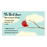 Pájaro rojo en una rama de árbol con el cielo nubl tarjetas de negocios