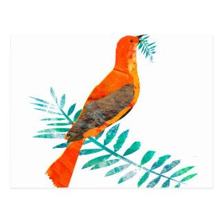 Pájaro rojo intrépido del rojo de la paz del postal