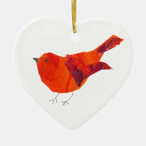 Pájaro rojo lindo adorno navideño de cerámica en forma de corazón