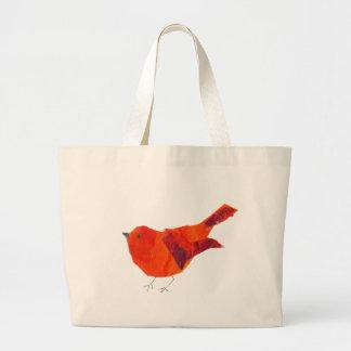 Pájaro rojo lindo bolsa tela grande