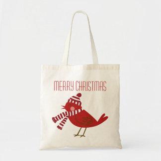Pájaro rojo lindo con la bolsa de asas del navidad