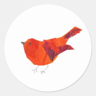 Pájaro rojo lindo del el día de San Valentín Pegatina Redonda