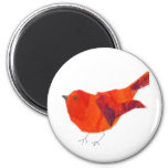 Pájaro rojo lindo imanes de nevera