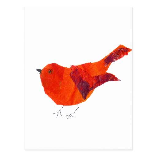 Pájaro rojo lindo postal