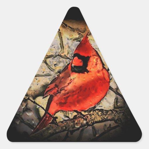Pájaro rojo pegatina triangular