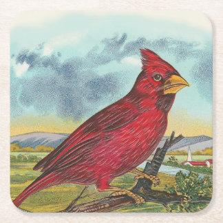 Pájaro rojo posavasos de cartón cuadrado