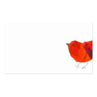 Pájaro rojo precioso de los animales pequeño tarjetas personales