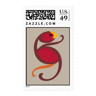 Pájaro rojo franqueo