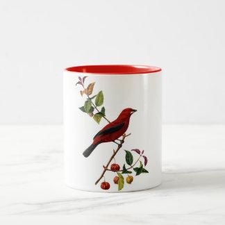 Pájaro rojo taza de dos tonos