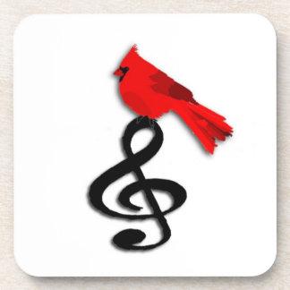 Pájaro rojo y práctico de costa cuadrado del corch posavasos