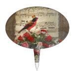 Pájaro rojo, y rosas en la hoja de música del vint decoraciones de tartas