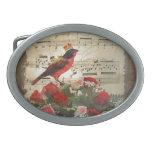 Pájaro rojo, y rosas en la hoja de música del vint hebillas de cinturon