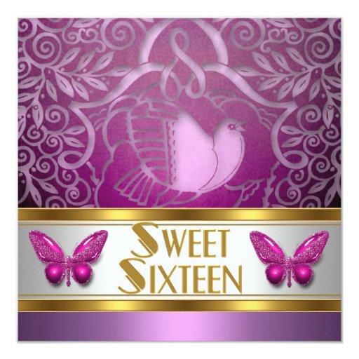 Pájaro rosado de la mariposa del dulce dieciséis invitación 13,3 cm x 13,3cm
